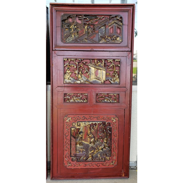 Late 19th Century Late 19th Century Chinese Carved Gilded Lacquered Wood Imperial Court Motif Panels - a Pair For Sale - Image 5 of 9