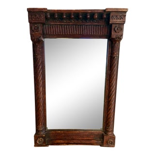 Antique Hand Carved Wooden Wall Mirror For Sale