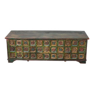 Vintage Hand-Painted Colorful Trunk, Carved Wood Trunk For Sale