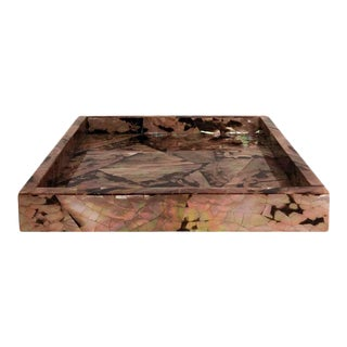 Medium Square Pen Shell Tray on Square Chrome Feet For Sale