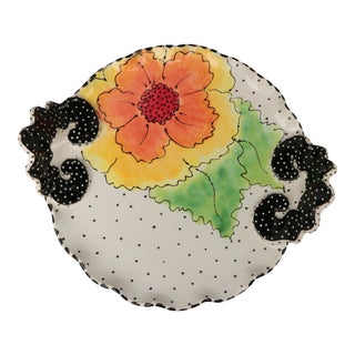 Cindy Teyro Handled Floral Tray For Sale