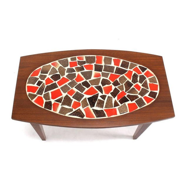 Mid Century Vintage Walnut and Tile Mosaic Side Tables- A Pair For Sale - Image 6 of 9