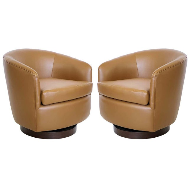 Tan Milo Baughman for Thayer Coggin Tilt & Swivel Lounge Chairs - A Pair For Sale - Image 8 of 8