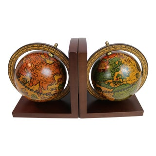 Italian Wooden Globe Bookends - a Pair