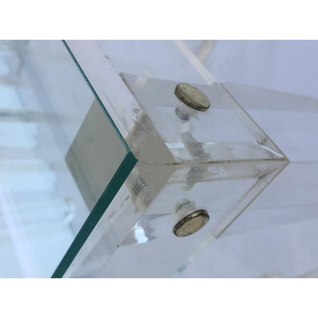 Transparent Set of Vintage Lucite and Glass Nesting Tables For Sale - Image 8 of 10