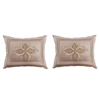 B. Viz Design Antique Embroidered Textile Pillows - a Pair For Sale