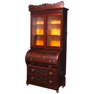 Antique Victorian Carved Burl Walnut Cylinder Bookcase Secretary, Circa 1880 For Sale