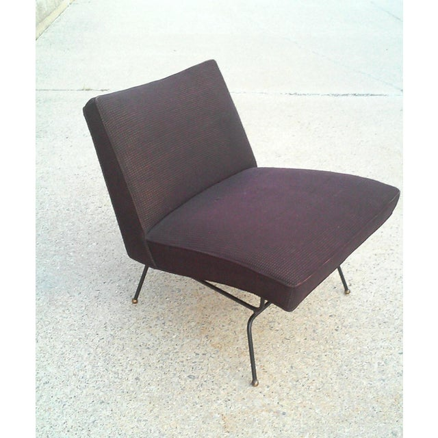 Baughman-Style Mid-Century Iron Frame Slipper Chair - Image 2 of 7