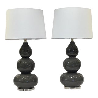 Gray Ceramic Gourd Lamps - a Pair For Sale