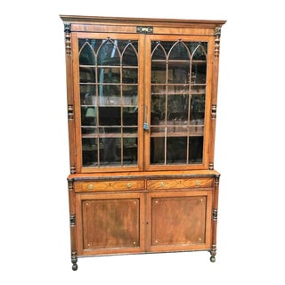 Early 19th Century English Sheraton Bookcase Cabinet For Sale