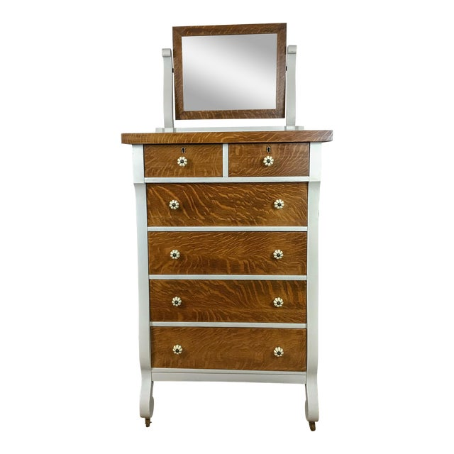 Farmhouse Style Dresser With Attached Mirror