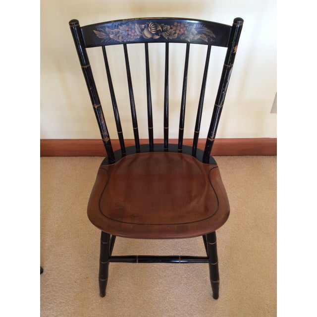 Hitchcock Country Side Chair in Black With Harvest Stained Seat For Sale - Image 11 of 11