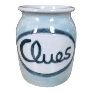 Vintage Hand Painted Porcelain Clues Jar