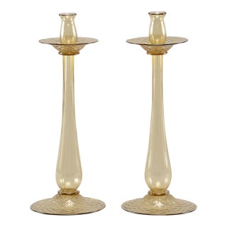 Barovier and Toso Amber Murano Glass Candlesticks - a Pair For Sale