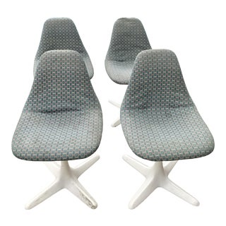 Vintage Burke Mid-Century Modern Girard Fabric Dining Chairs - Set of 4 For Sale