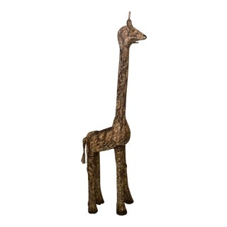 1970s Vintage Spotted Woven Rattan Girafe Planter For Sale