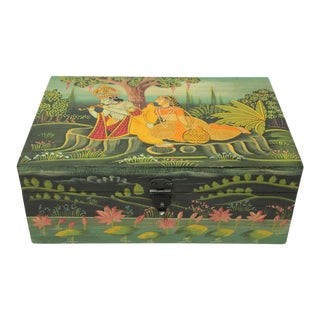 Hand Painted Decorative Box with Krishna For Sale