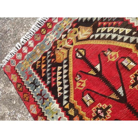 "Vintage Red Turkish Kilim Rug - 2'12"" x 4'9"" - Image 5 of 6"