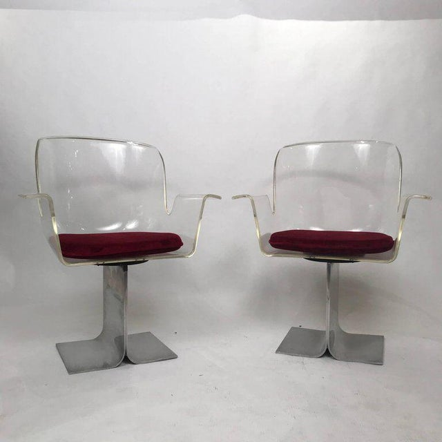 Pair of Pace Lucite & Aluminum Dining or Conference Swivel Chairs by i.m. Rosen For Sale - Image 12 of 13