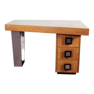 Modernist Blonde Mahogany Asymmetrical Partners Desk With Nickeled Detail For Sale