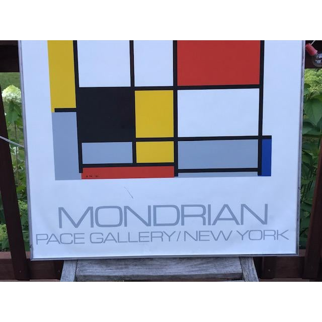 Original Poster + Frame from the Pace Gallery in New York. This show was dedicated to Abstract Art Pioneer Piet Mondrian...