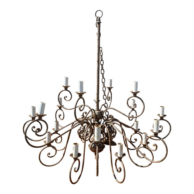 1950s French 20-Arm Chandelier For Sale