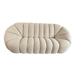 Taupe Boucle Modern Channeled Sofa For Sale