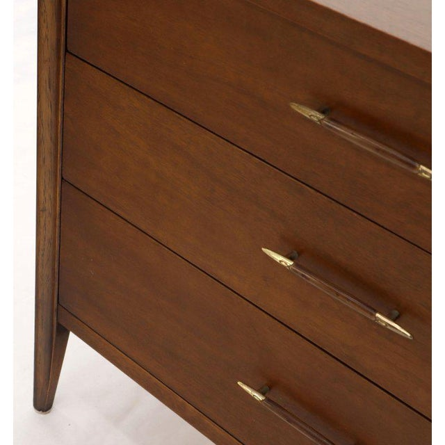 Mid-Century Modern Three-Drawer Mid-Century Modern Walnut Bachelor Chest Dresser For Sale - Image 3 of 12