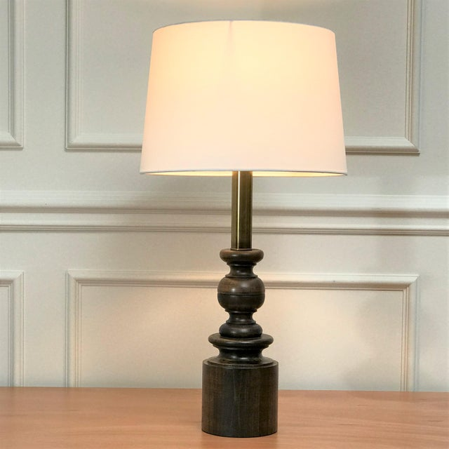 Vintage Post Modern Classicism Wood & Brass Baluster Table Lamp For Sale - Image 11 of 12