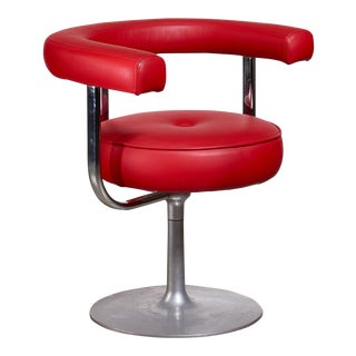 Esko Pajamies metal and red leather desk chair for Lepo, Finland, 1960s For Sale