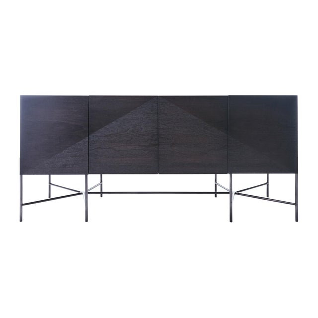 Web Series Walnut Credenza With Welded Steel Base by Modern Industry Design For Sale In Chicago - Image 6 of 6