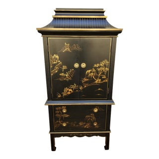 Chinoiserie Boho Pagoda Black and Gold Standing Dresser For Sale