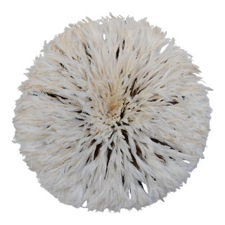 """Large 30"""" Ivory White African Feather Juju Wall Hanging"""