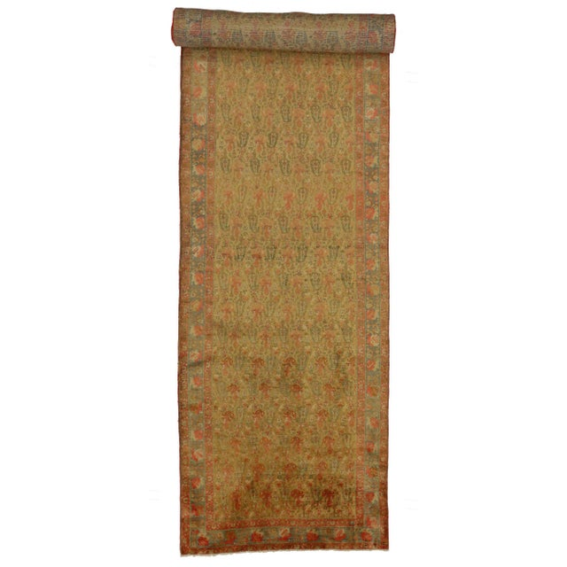 76571 Antique Persian Mahal Long Runner with Arts and Crafts Style. This hand knotted wool antique Persian Mahal runner...