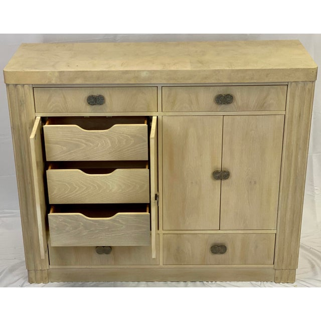 Metal Art Deco Hickory White Pickled Oak Cabinet For Sale - Image 7 of 12