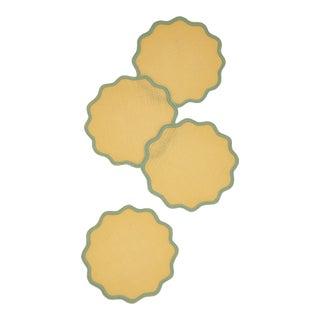 Moda Domus x Chairish Exclusive Scalloped Linen Colorblock Coaster Napkins - Set of 4 For Sale