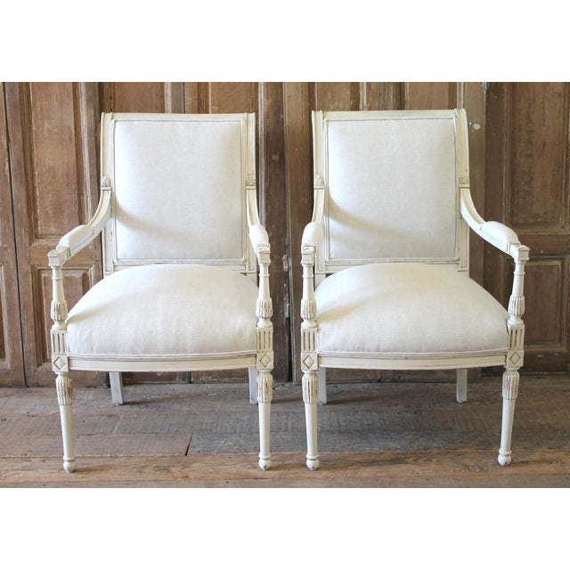 20th Century Napoleon Style Upholstered Open Arm Chairs- A Pair For Sale - Image 13 of 13