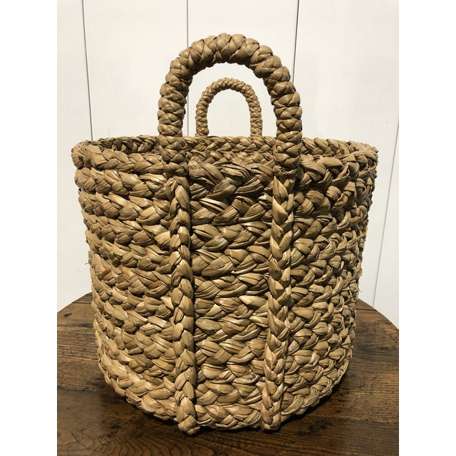 Farmhouse Seagrass Large Basket With Handles For Sale - Image 3 of 5
