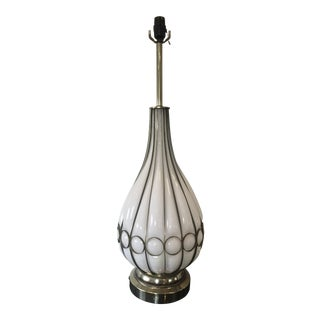 Mid-Century Large Milk Glass and Brass Table Lamp in Blown Cage Cased Glass For Sale