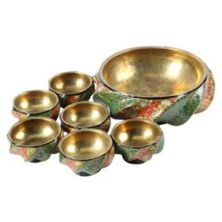 Set of Vintage Brass Lined Kashmiri Bowls For Sale