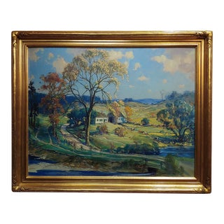 Frederick Mortimer Lamb -New England Country Side Landscape-Oil Painting-C1900s For Sale