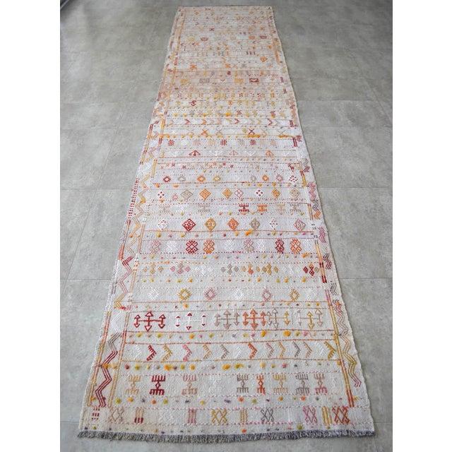Textile Antique Handmade Kilim Runner Rug Masterwork Cotton Jajim Hallway Decor - 2′9″ × 11′9″ For Sale - Image 7 of 12