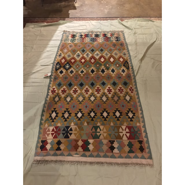 """Vintage Turkish Flat Weave Kilim Rug 3'3""""x6'3"""" , this Turkish flat weave has some amazing colors and a great shape and..."""