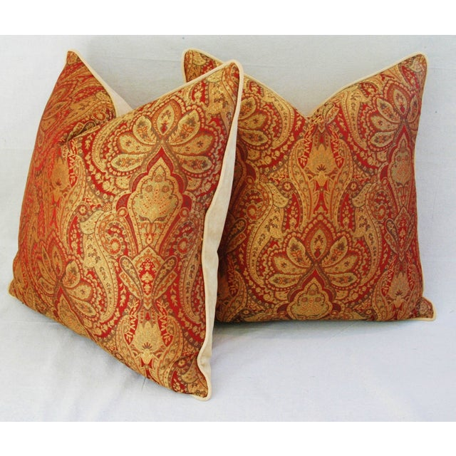 Custom French Jacquard & Velvet Pillows - A Pair - Image 7 of 10