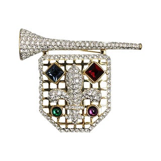 Large Swarovski Shield Brooch For Sale