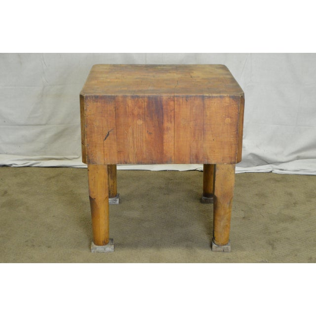Rustic Vintage Antique Maple Butcher Block Table by Bally Block Co. For Sale - Image 3 of 10