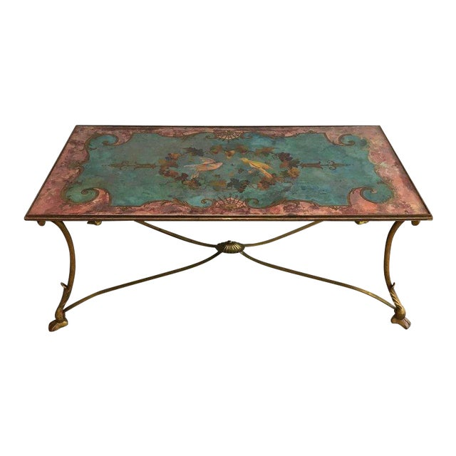 Neoclassical Coffee Table With Gilt Base and Reverse Painted Mirror Top - Image 1 of 11
