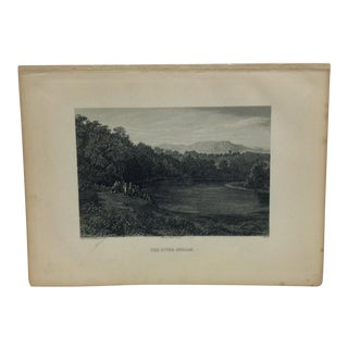 "Antique Original Engraving on Paper ""The River Jordan"" by J. Cramb Circa 1890 For Sale"