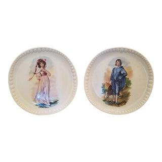 Hand Painted Crooksville China Decorative Plates - a Pair For Sale