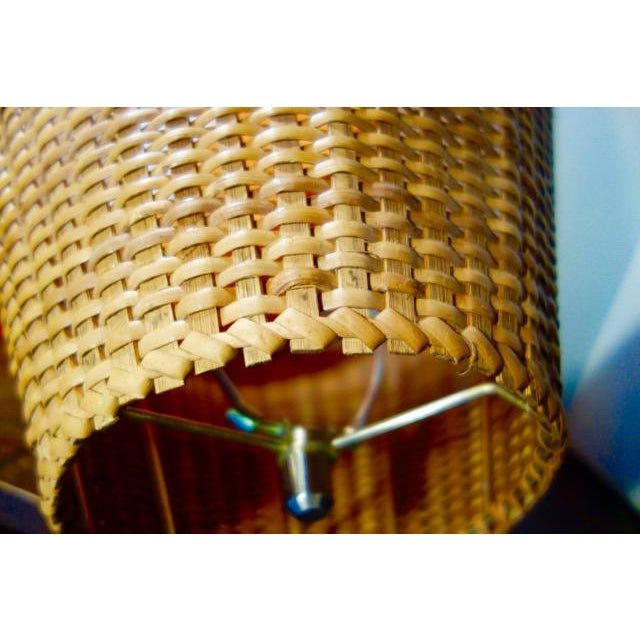1970s Wicker Rattan Lampshade For Sale - Image 4 of 9